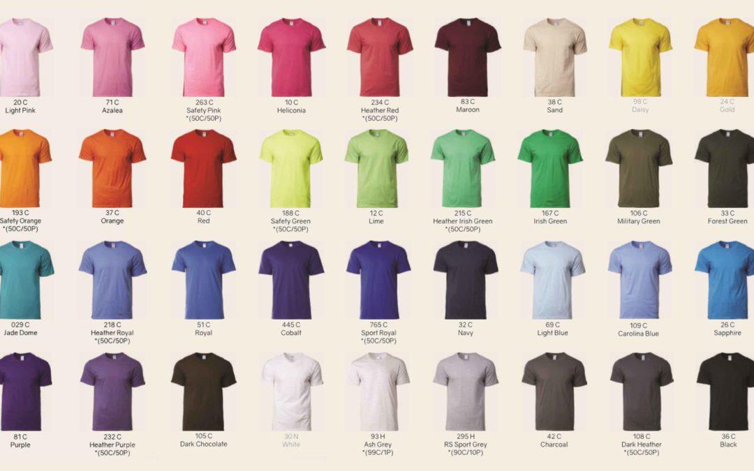 gildan 76000 premium cotton t-shirt colours