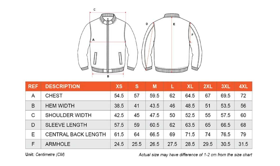 UJ12B bomber jacket size chart